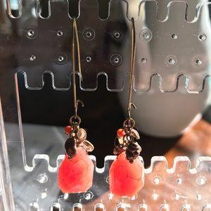 Anthropologie coral drop earrings